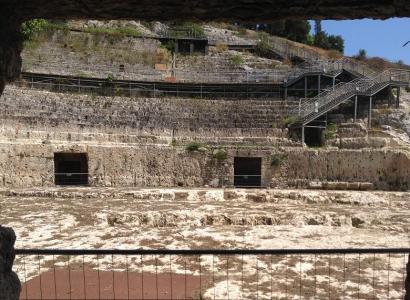 Bomba d'acqua nell'anfiteatro di Cagliari