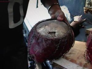 Cranio ricoperto dal velluto e filo d'oro