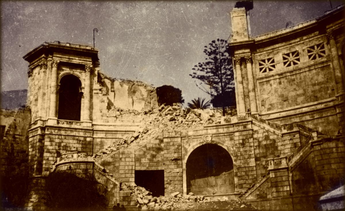 Il bastione devastato dalle bombe del 1943