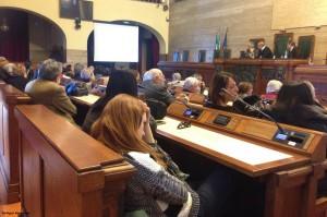 L'aula consiliare del Comune di Cagliari.