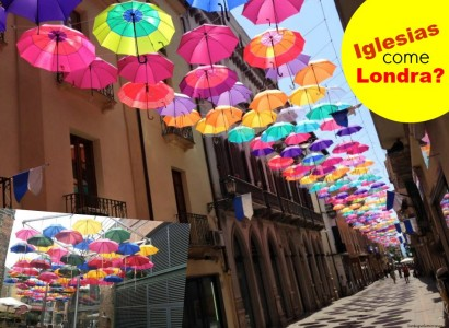 Un cielo di ombrelli colorati: Iglesias come Londra?