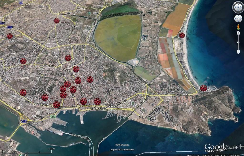 Pianta colonnine elettriche Cagliari