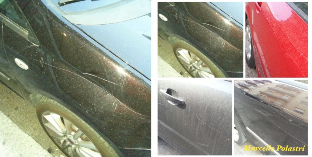 Le auto danneggiate in via La Nurra.
