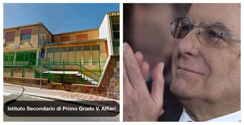 La scuola Alfieri di via de Gioannis e a destra il Presidente Mattarella