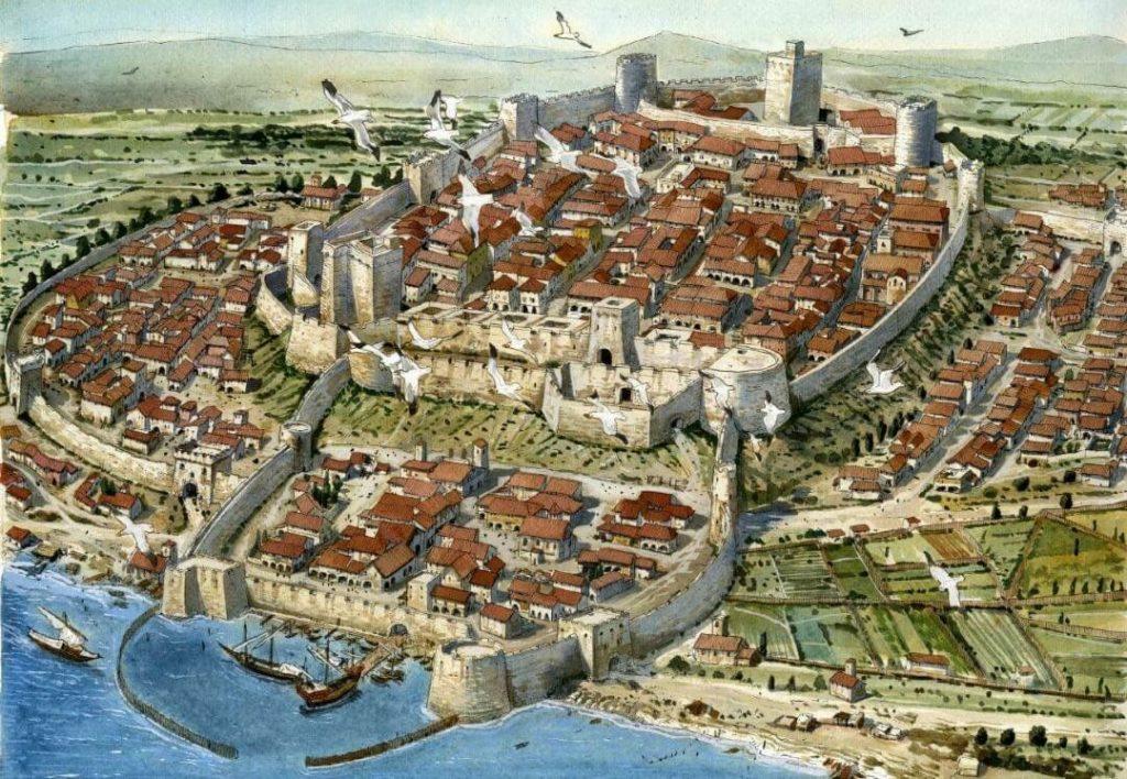 Planimetria aerea della città in una ricostruzione ideale di Cagliari nel 1530.