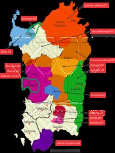 La carta geografica dei vitigni della Sardegna