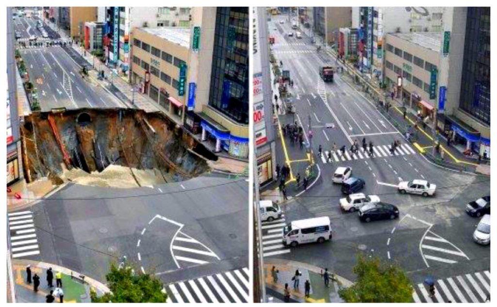 La gigantesca voragine e, a lato, la stessa strada riparata.