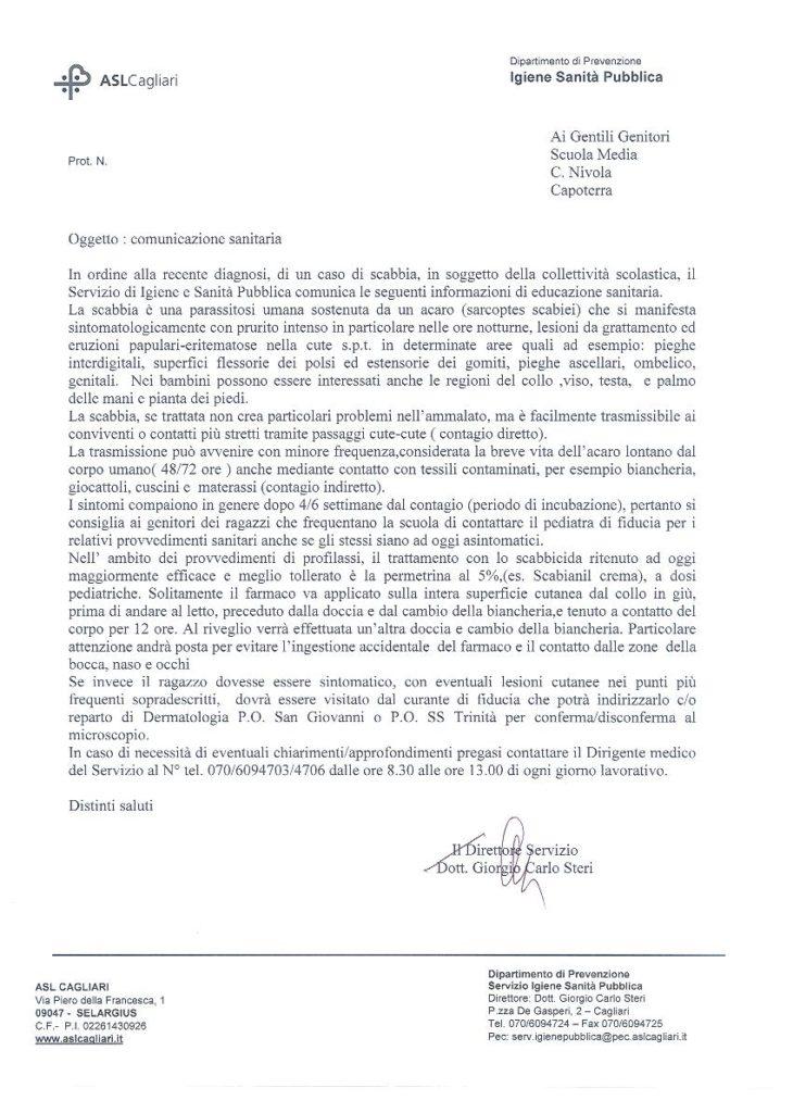 Documento della ASL sul caso di scabbia a Capoterra.